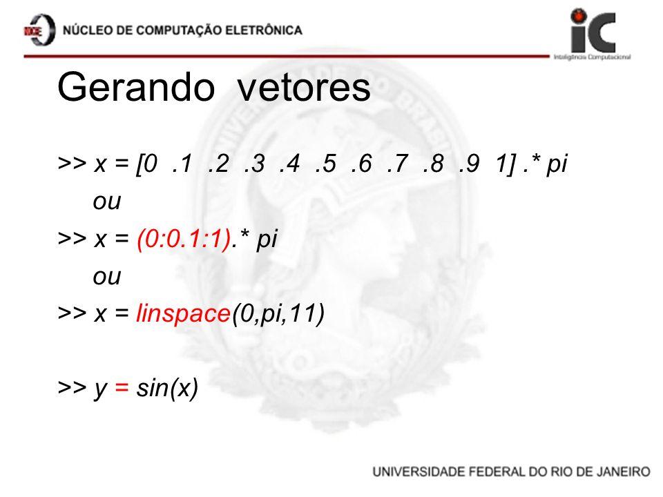 Gerando vetores >> x = [0 .1 .2 .3 .4 .5 .6 .7 .8 .9 1] .* pi ou